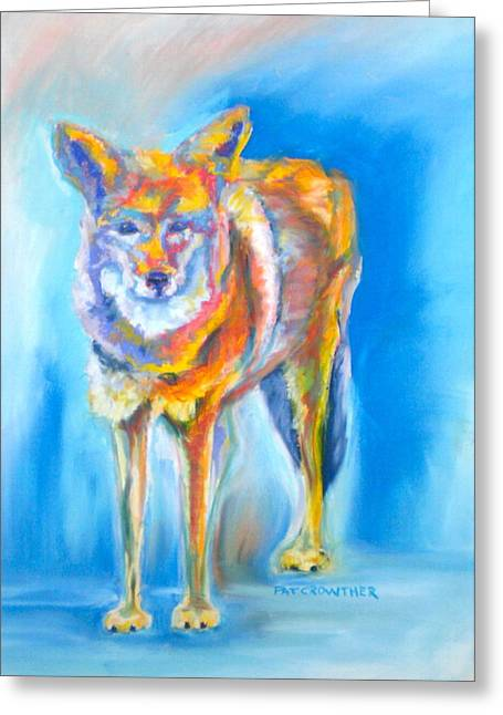 Greeting Card featuring the pastel Yosemite Coyote by Pat Crowther