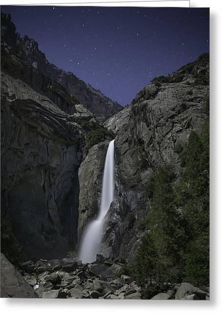 Yosemite Falls At Night Greeting Card