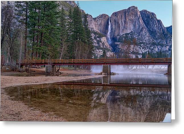 Yosemite Falls At The Swinging Bridge Greeting Card