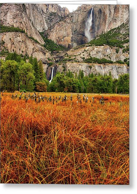 Yosemite Falls Autumn Colors Greeting Card
