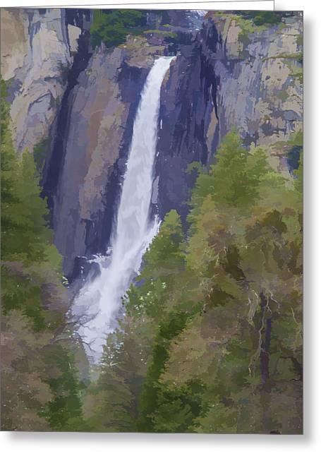 Yosemite Falls Digital Watercolor Greeting Card