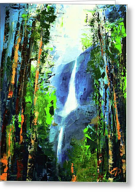 Greeting Card featuring the painting Yosemite Falls by Elise Palmigiani