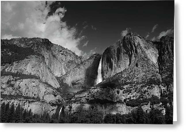 Yosemite Falls From Cook's Meadow In Black And White Greeting Card by Raymond Salani III
