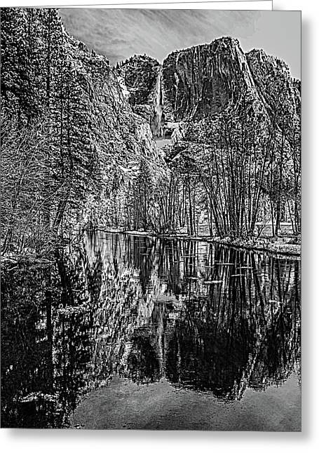 Yosemite Falls From The Swinging Bridge In Black And White Greeting Card by Bill Gallagher