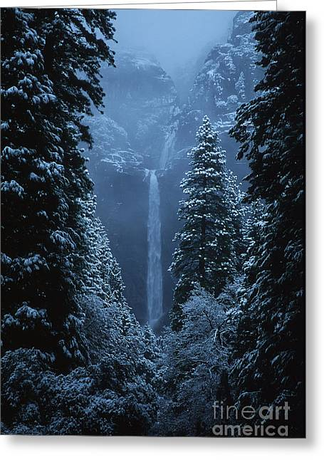 Yosemite Falls In January Greeting Card by Stan and Anne Foster