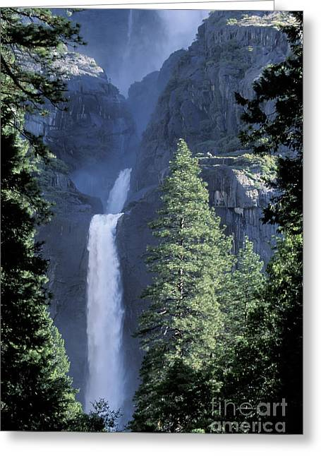 Yosemite Falls In Spring Greeting Card by Stan and Anne Foster