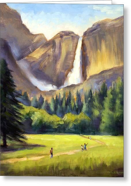 Yosemite Falls Greeting Card by Karin  Leonard