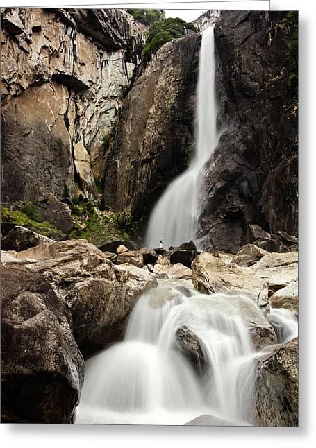 Yosemite Falls Lower And Hiker Greeting Card
