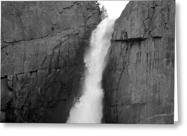 Yosemite Falls Monochrome Greeting Card by Eric Forster