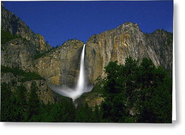 Yosemite Falls Under Star Light Greeting Card by Raymond Salani III