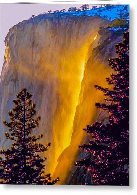 Yosemite Firefall Painting Greeting Card
