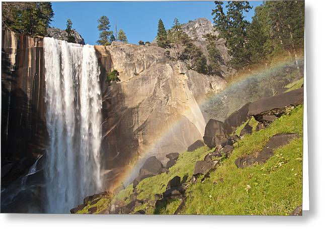 Yosemite Greeting Cards - Yosemite Mist Trail Rainbow Greeting Card by Shane Kelly