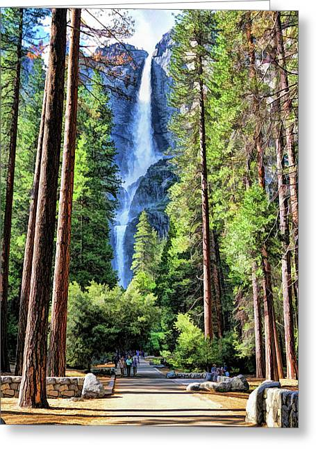 Greeting Card featuring the painting Yosemite National Park Bridalveil Fall Trees by Christopher Arndt