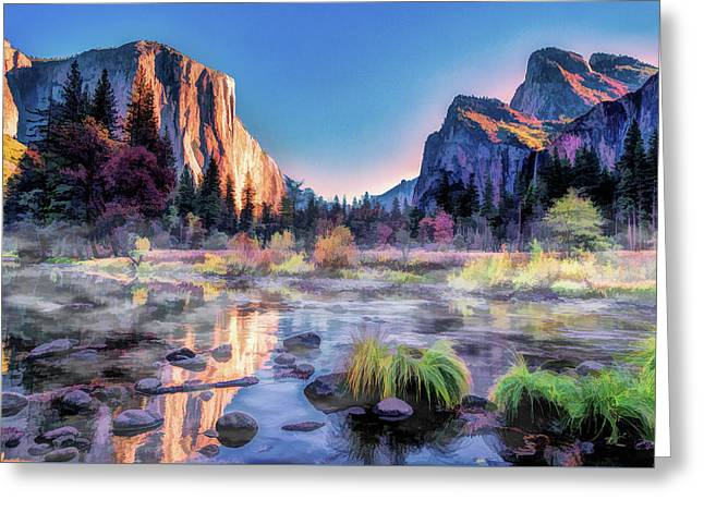 Greeting Card featuring the painting Yosemite National Park Valley by Christopher Arndt
