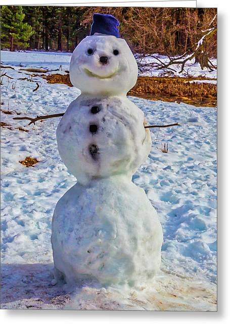 Yosemite Snowman Greeting Card by Garry Gay