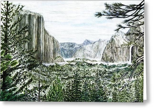 Yosemite ... The Tunnel Greeting Card by G H Hisayasu