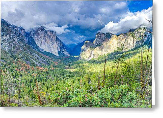 Greeting Card featuring the photograph Yosemite Tunnel View Spring Storm by Scott McGuire