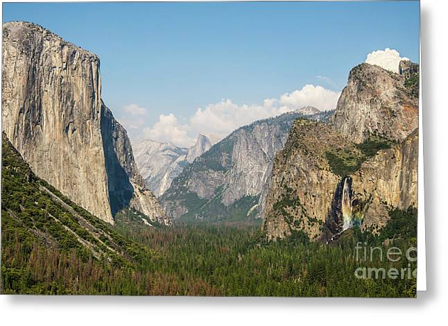 Yosemite Tunnel View With Bridalveil Rainbow By Michael Tidwell Greeting Card