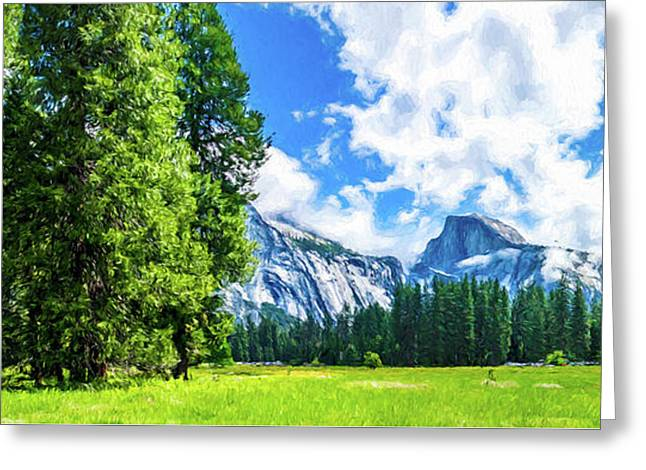 Yosemite Valley And Half Dome Digital Painting Greeting Card