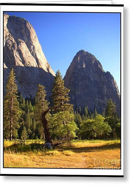Cathedral Rock Greeting Cards - Yosemite Valley Pinnacle - California Greeting Card by Glenn McCarthy Art and Photography