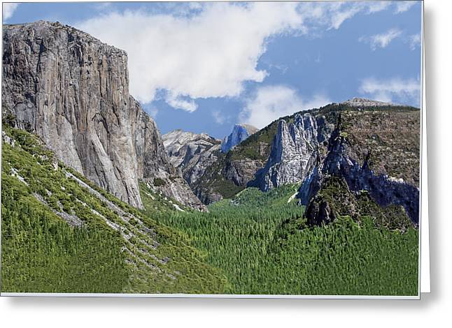 Yosemite Valley Showing El Capitan Half Dome And The Three Brothers Formation Greeting Card