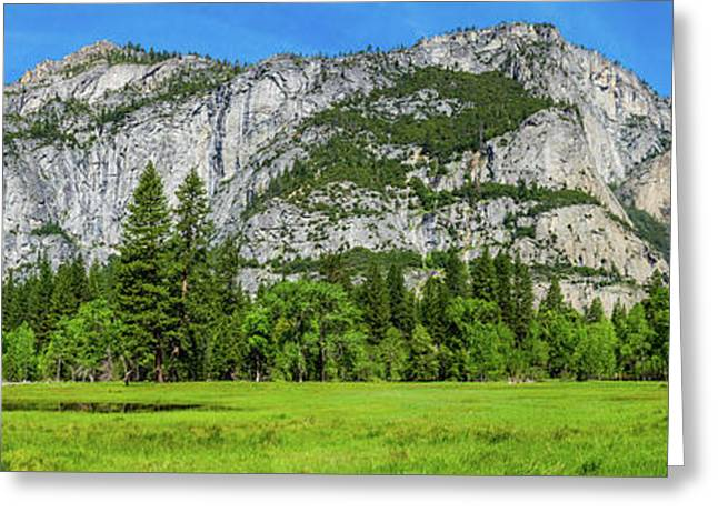 Yosemite West Valley Meadow Panorama #2 Greeting Card