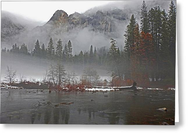 Greeting Card featuring the photograph Yosemite Winter Beginnings by Walter Fahmy
