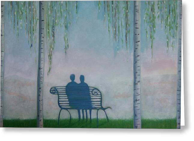 Greeting Card featuring the painting You And I On The Bench by Tone Aanderaa