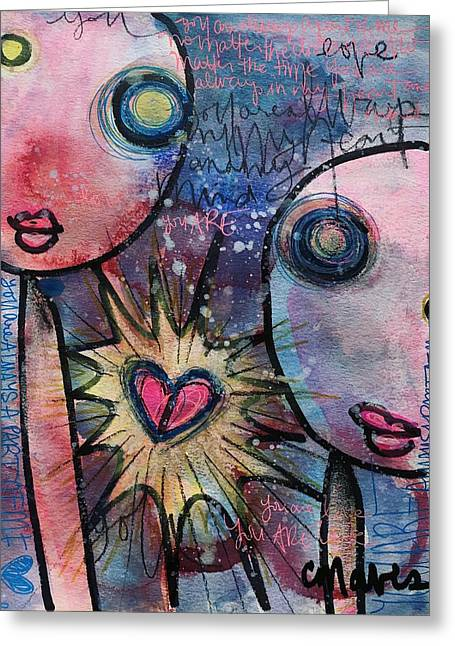 Greeting Card featuring the painting You Are Always In My Heart  by Laurie Maves ART