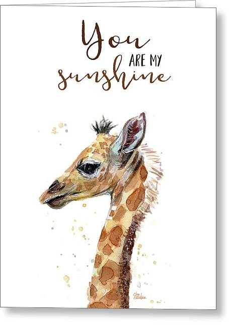 You Are My Sunshine Giraffe Greeting Card by Olga Shvartsur