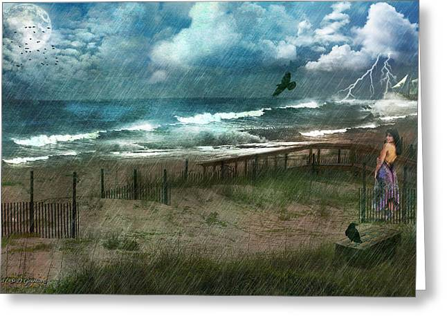 Greeting Card featuring the digital art You Are So Far Away by Rhonda Strickland