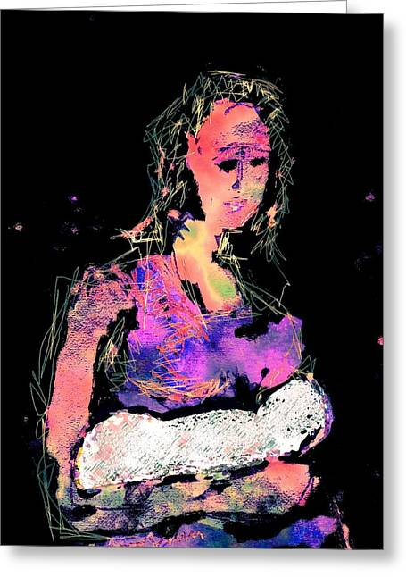 Caring Mother Mixed Media Greeting Cards - you can count on Me  Greeting Card by Mimo Krouzian