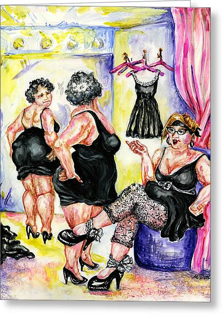 Dressing Room Paintings Greeting Cards - You CAnt Go Wrong With Basic Black Greeting Card by Margaret Donat