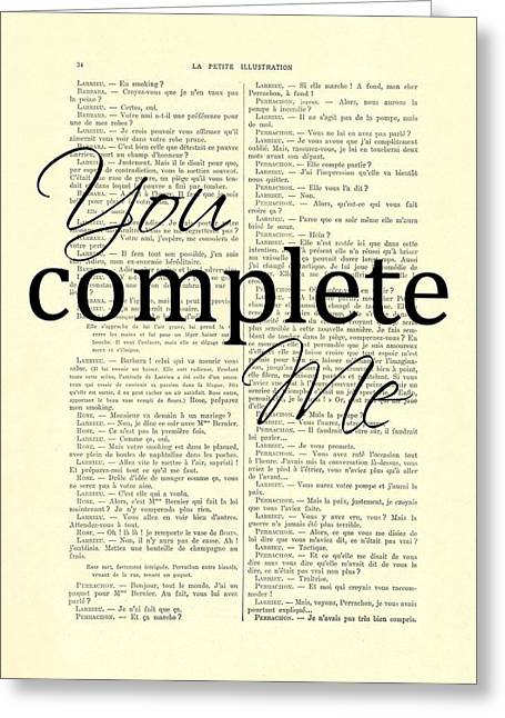 You Complete Me, Love Poster Greeting Card