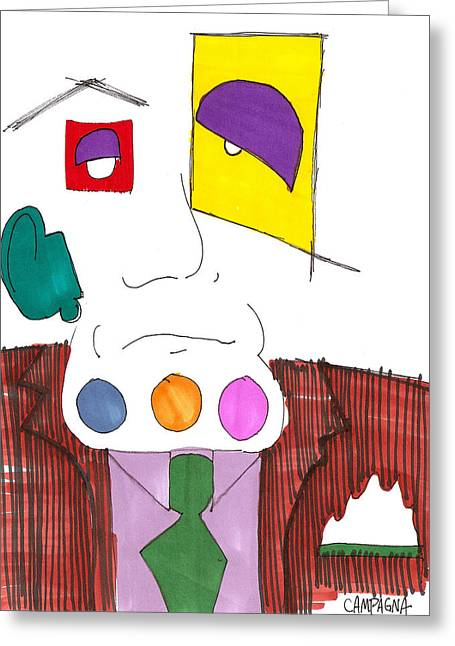 You Have Something On Your Chin Greeting Card by Teddy Campagna