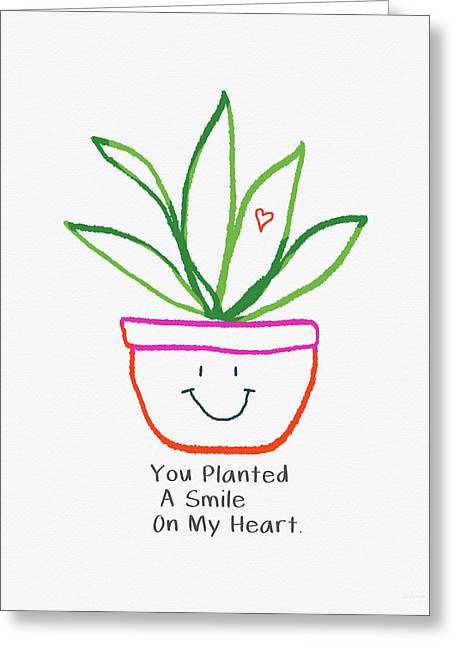 Greeting Card featuring the mixed media You Planted A Smile- Art By Linda Woods by Linda Woods