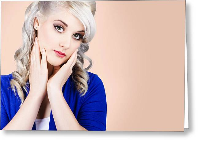 Young Adult Woman Touching Beautiful Face Greeting Card by Jorgo Photography - Wall Art Gallery