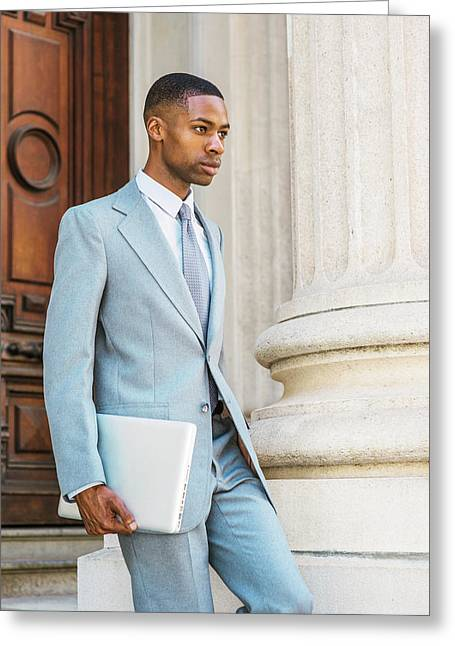 Young African American Businessman Working In New York Greeting Card