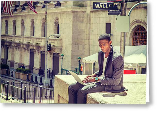 Young African American Man Working On Wall Street In New York Greeting Card