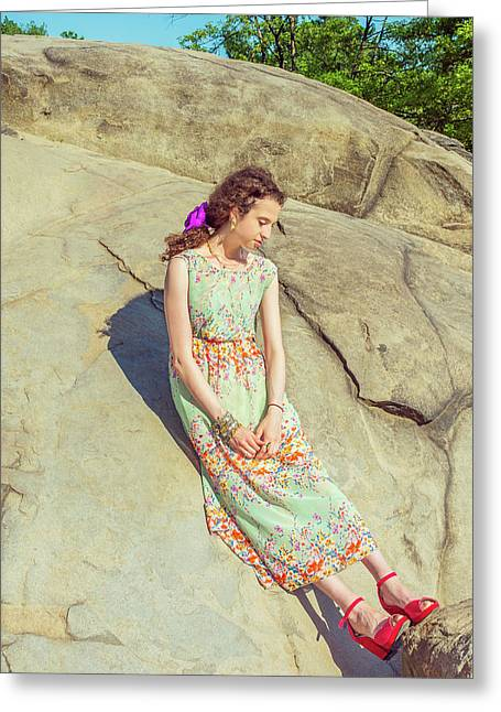 Young American Woman Summer Fashion In New York Greeting Card