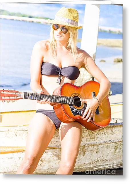Young Attractive Blonde Woman Playing Guitar Greeting Card by Jorgo Photography - Wall Art Gallery