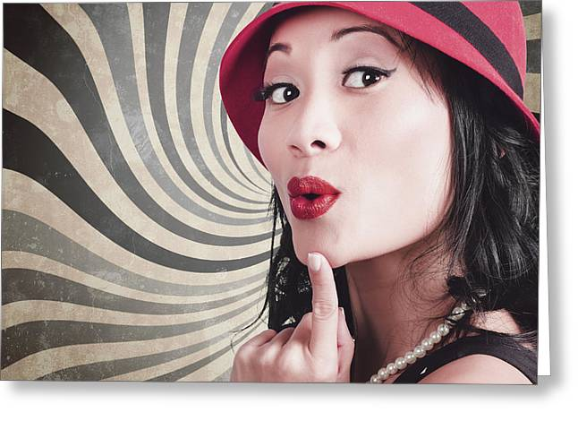 Young Attractive Chinese Woman Expressing Surprise Greeting Card by Jorgo Photography - Wall Art Gallery