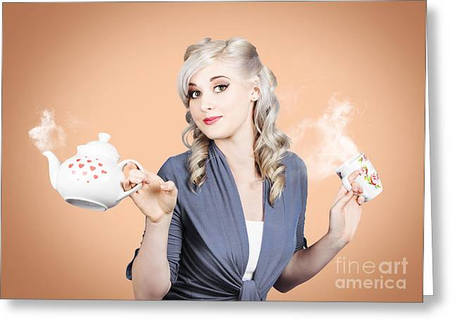 Young Beautiful Girl Drinking Tea Or Coffee Greeting Card by Jorgo Photography - Wall Art Gallery