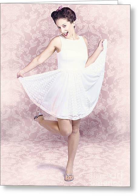 Young Beautiful Pinup Woman Dancing In Retro Dress Greeting Card by Jorgo Photography - Wall Art Gallery
