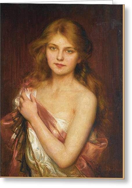 Young Beauty Greeting Card by Albert Lynch