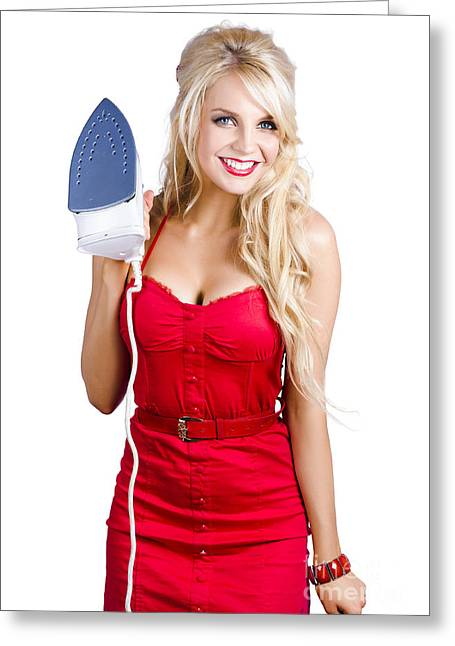 Young Blond Woman With Iron Greeting Card by Jorgo Photography - Wall Art Gallery