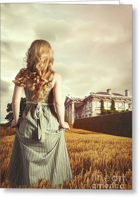 Young Blonde Woman In Field Greeting Card by Amanda Elwell
