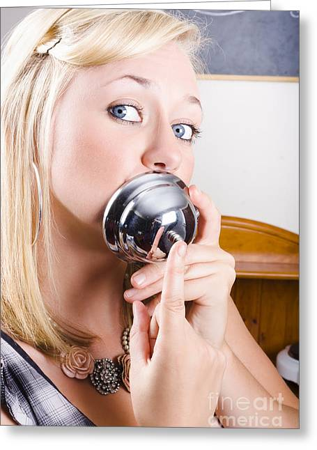 Young Blonde Woman Ringing The Bell Of Lip Service Greeting Card