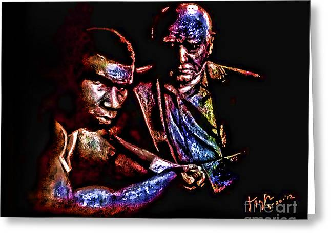 Young Boxer And Soon  To Be World Champion Mike Tyson And Trainer Cus Damato II Greeting Card