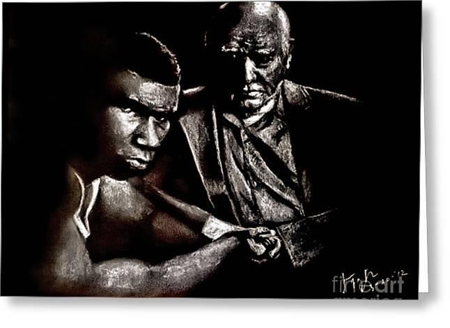 Young Boxer And Soon To Be World Champion Mike Tyson And Trainer Cus Damato Greeting Card by Jim Fitzpatrick